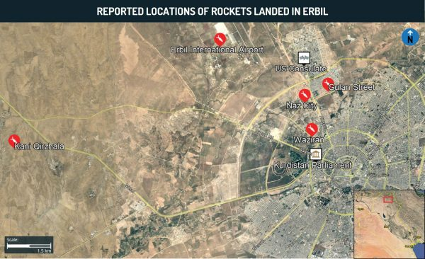 Reported locations of rockets landed in erbil