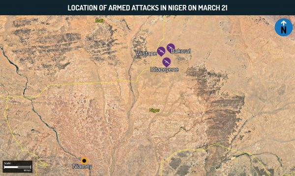 Location of armed attacks in Niger on March 21
