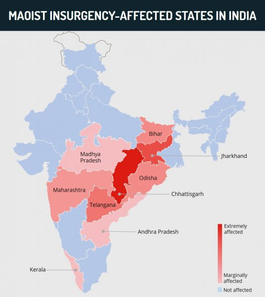 Maoist insurgency - Affected states in India